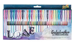 Gelschreiber, 30 Stifte metallic/pastell/glitter