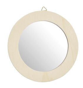 Spiegel met houten lijst, ø13cm, naturel, per stuk