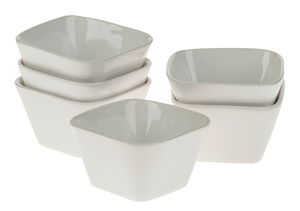 Ciotole di ceramica, 6 pezzi, bianco, 95x95x55mm