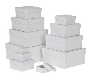 Geschenkboxen, 12er-Set eckig weiß