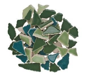 Scherben-Mosaik, 500 g grün-mix    (7 mm)