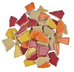 Scherven mozaïek, ca.7mm dik, 500 gr,geel/rood mix