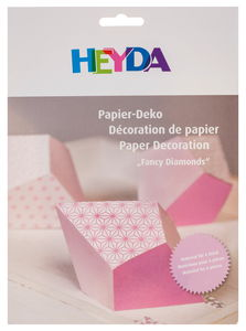 Papier set 'Fancy Diamonds' roze, 6 stuks