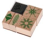 Stempelset 'Puristic Christmas' 4 stempels+kussen