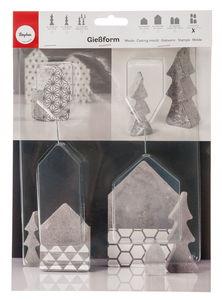 Gietvorm - 4 huisjes (5,5 x 10,5 cm)