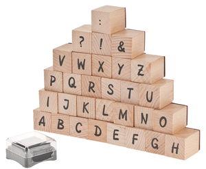 Houten stempelset 'Alfabet', 31-delig