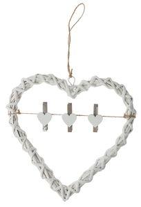 Wilgenkrans - Hart met knijpers (26 cm) wit