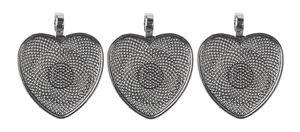Metalen hangers - Hart, zilverkleur, 3 stuks
