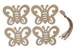Houten hanger - Vlinder (80 x 60 mm) 4 stuks