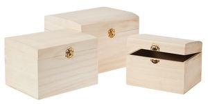 Houten kistjes, naturel, 3 stuks