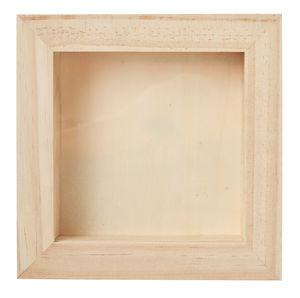 Houten foto/voorwerp lijst  (18 x 3,8 x 18 cm)