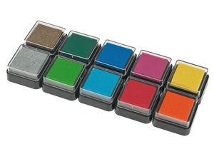 Stempelkissenset Basic, 10 Farben (30 x 30 mm)