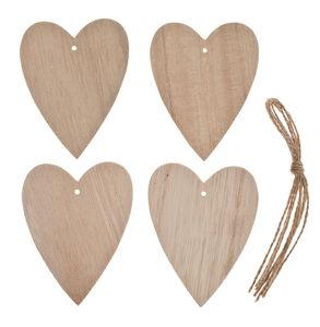 Holzherzen zum Hängen, 4 Stück (5,8 x 7,5 cm)