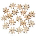 Holzknöpfe, 20 Stück Blumen (2 cm)