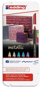 edding 1200 Metallic Color pennen, 6 stuks