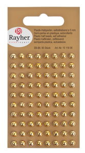 Halbperlen, 80 Stück gold selbstklebend (5 mm)