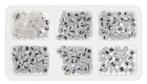 Alphabet-Perlen, 300 Stück weiß (7 mm)