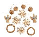 Stroh-Weihnachtsbaumhänger 12er-Set, 4 Motive