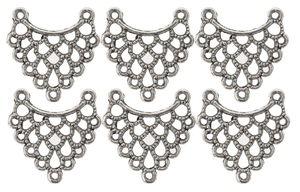 Metalen hangers - Ornament, zilverkleur, 6 stuks