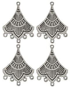 Metalen hangers - Ornament, zilverkleur, 4 stuks