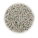 Rocailles metallic (2,6 mm), 17 g silber glänzend