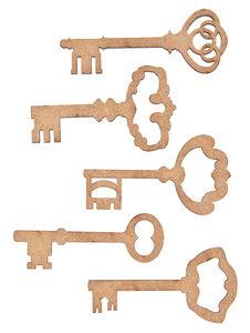 Houten sleutels (7 cm) 5 stuks