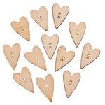 Holzknöpfe, 12 Stück Herzen (1,8 x 2,3 cm)