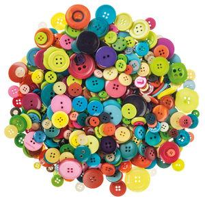 Boutons ronds en plastique, 500 g divers coloris