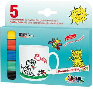 Rotuladores color para porcelana - 5 ud