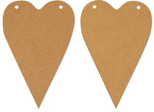 Holz Herzen, 2 Stück (16 x 10,5 cm)
