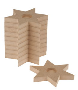 Bougeoirs en bois -Etoile-, Pour 1 bo...,