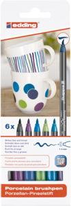 edding Porzellan-Pinselstift, 6er Set kühle Farben