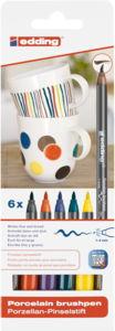 edding 4200 Porzellan Pinselstifte, 6 Grundfarben