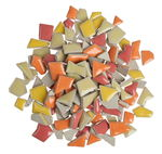 Scherven mozaïek mini, rood/oranje/geel mix, 200g