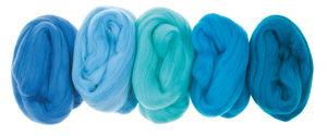 Merino scheerwol, superfijn, blauwtinten, 5 stuks