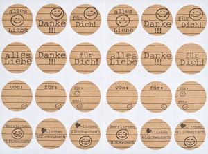Papieren stickers gelukwensen, 24 motieven,2 vel