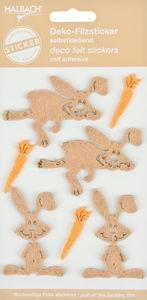Vilten stickers -Haas (4 x 6 cm) naturel, 7 stuks
