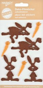 Vilten stickers Haas (4 x 6 cm) bruin, 7 stuks