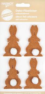 Vilten stickers - Haas, 4 stuks op 1 vel, bruin