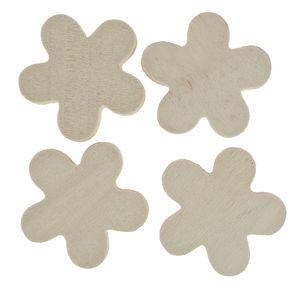 Holzblumen, 4 Stück (4 cm)
