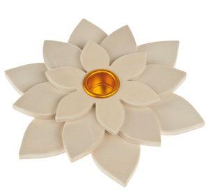 Houten kaarsenhouder bloem (12,5 cm)