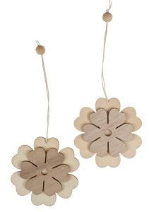 Holzhänger, 2 Stück Blumen (8 cm)