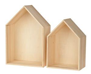 Holzregal Haus, 2er Set (19 x 27/23 x 34 cm/10 cm)