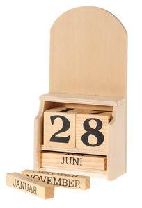 Kalender Holz mit Würfeldatum (15 x 7,5 x 4 cm)