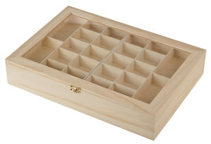 Holzschmuck Sortierbox mit Einsätzen (40 x 28 cm)