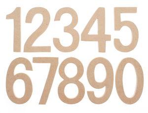 Holz Zahlen 0-9, natur (7 x 4 x 0,5 cm)