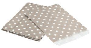 Papieren zak, stippen, beige/wit, 25 stuks
