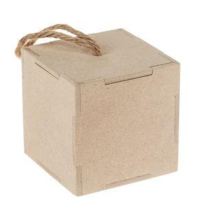 Houten box (9 x 9 x 9 cm) met afneembaar deksel