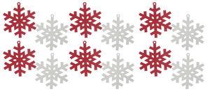 Papier-Eiskristalle, 12 Stück rot/weiß (20 cm)