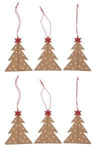 Papieren hangers 3D 'Kerstboom', 6 stuks